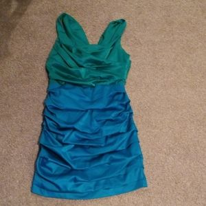 Express Ruched cocktail dress shiny color block